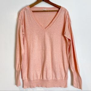 J. Crew Blush Pink Button V Neck Sweater